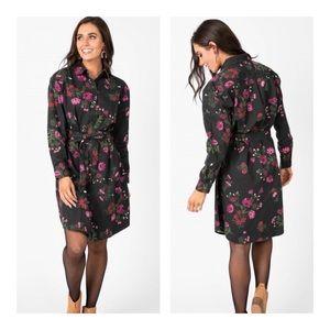 🌹 Black Floral Denim Shirt Dress Long Sleeved